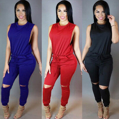 Women Clubwear Sleeveless Playsuit Bodycon Party Romper Trousers Plus Size