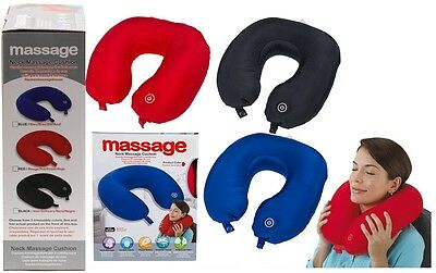 Fabric Neck Massage Cushion Soft Relaxing Travel Pillow Battery Operated 31x30cm