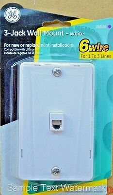 White  Wall Jack  SURFACE MOUNT Allows 3 Telephone Lines installed Fax Phone