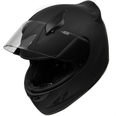 DOT Motorcycle Helmet Full Face Sportbike KOI Matte Black Clear Visor - Medium