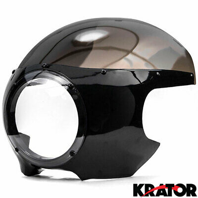 "Motorcycle 5-3/4"" Headlight Fairing Screen Black & Smoke Retro Cafe Racer Drag"