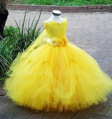 Belle Costume Kids Princess Beauty and The Beast Yellow Fancy Dress Girls Gown