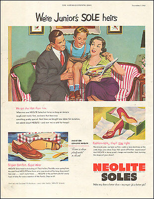 1952 Vintage ad for NEOLITE SOLES`Art 50's Fashion Shoes  (073116)