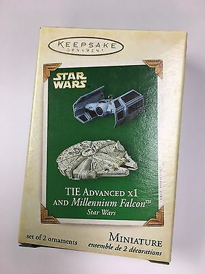 Hallmark 2005 Star Wars TIE X1 Millennium Falcon SET 2 Miniature MINI Ornament