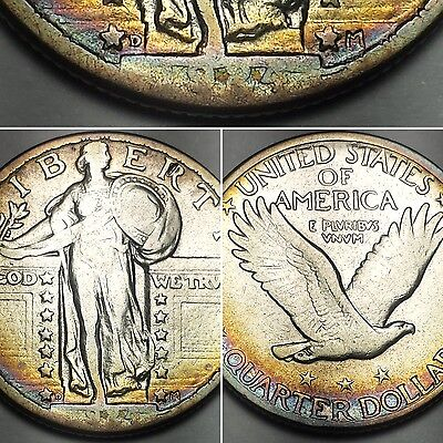 1924-D Standing Liberty Quarter - Nicely Toned Key Date 90% Silver Us Coin