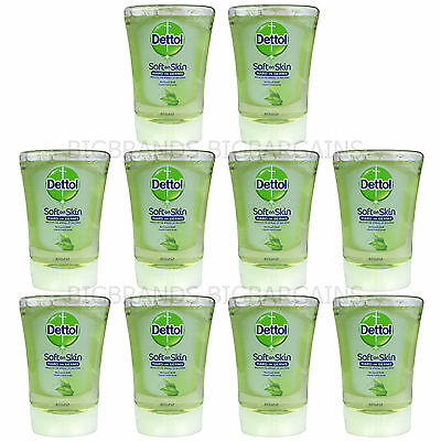 10 x Dettol No Touch Hand Wash Refill Green Tea Soap Anti Bacterial 250ml