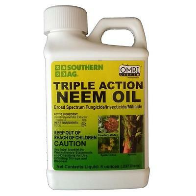 Southern Ag Neem Oil 8 oz. Triple Action Spray Fungicide Insectticide Mitecide