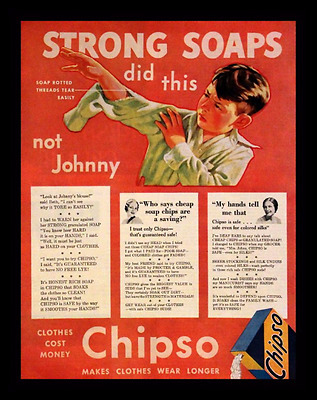 1932 Chipso Laundry Soap Ad - Detergent - Retro Vintage Advertising Page