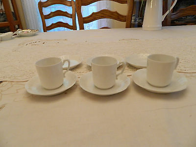 Haviland & Co. (3) White Demitasse Cups and Saucers 7-2