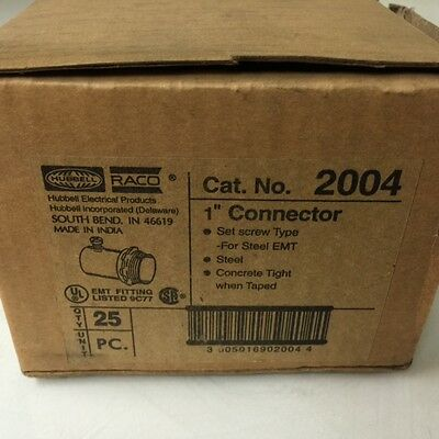 "New, Hubbell Raco  P/n 2004  1"" Connector  Steel Emt ( Box Of 25 )"