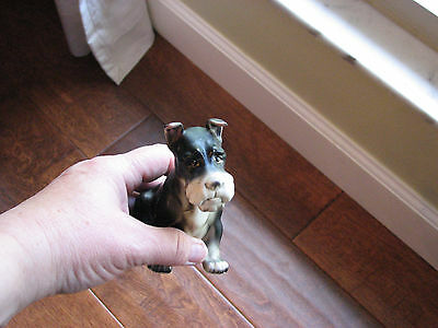 VTG LEFTON H691 BLACK AND WHITE SCHNAUZER DOG FIGURINE 3.5 inches