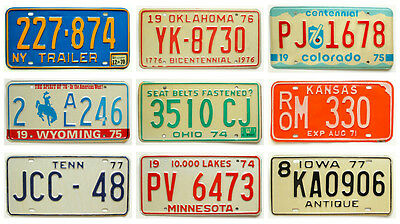 Old Vintage 1970s License Plate Lot, Bicentennial, WY NY TN CO MN IA OK OH KS