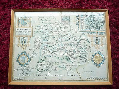 Framed Print John Speede Map Breknoke 1610 Breconshire Wales Published Wales Gas