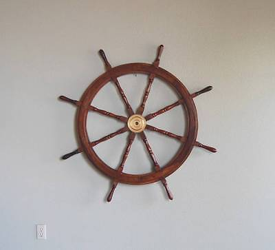 "Ships Wheel 36"" Wood w/Brass hub Nautical Marine Pirate Captain Decor #2236"