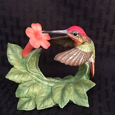 Ruby Topaz Hummingbird With Trumpet Creeper ~ Bronson Collection 1996