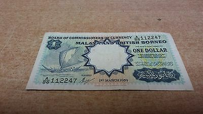 1959 Malaya & British Borneo Sailing Boat Waterlow & Sons One Dollar Note