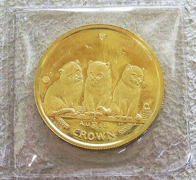 2006 Gold Isle Of Man 1/5 Crown Cat & Kittens Coin Mint Condition