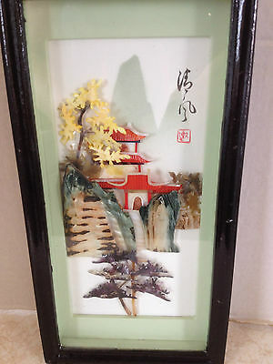 Vintage Chinese Mother of Pearl Framed Shell Picture Pagoda Tree Art Signed
