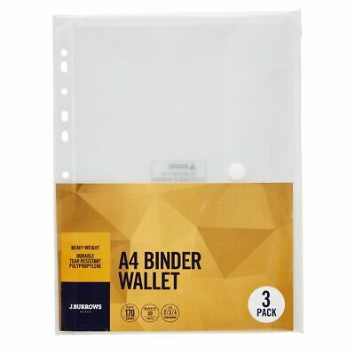 J.Burrows Binder Document Wallet A4 Clear 3 Pack