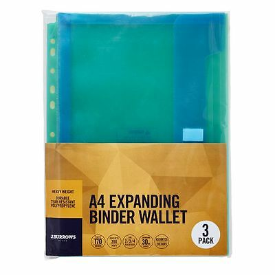 J.Burrows Expanding Binder Document Wallet A4 Assorted 3 Pack