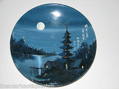 Thai chalkware hand painted plate love poem night moonlight pagoda signed FREE S