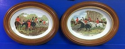 Equestrian Fox Hunting Oval Plaques Plates Framed Horse