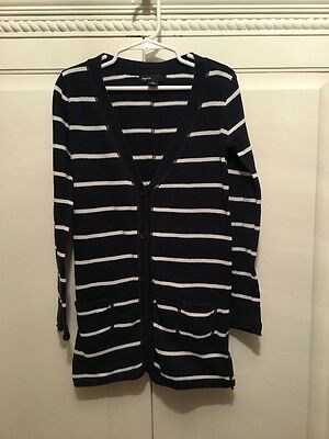 GAP Girls Size S6-7 Navy And White Striped Sweater Cotton Front Pockets