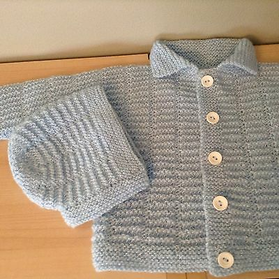 Baby Sweater And Matching Hat And Booties Handmade Crocheted Blue