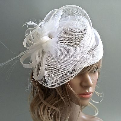Dress dome sinamay hat w/ feather center
