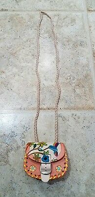 Girls Handmade Mexican mini Leather Purse 3.5X3
