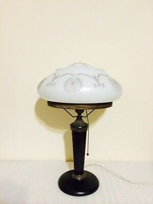 Pittsburgh Lamp With Cameo Etched Cut Back Mushroom Shade