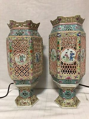 Pair Antique Chinese Famille Export Rose Porcelain Reticulated Wedding Working