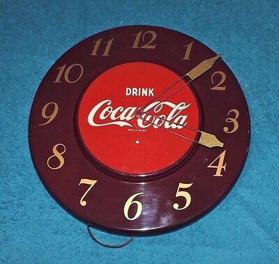 "Rare Antique Original 1950's or 60'S Coca Cola advertising Clock Sign ""  NICE  """