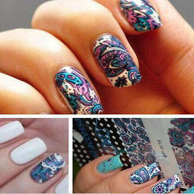 Nail Art Stickers Water Transfer Stickers Blue Flower Decals Tips 3d