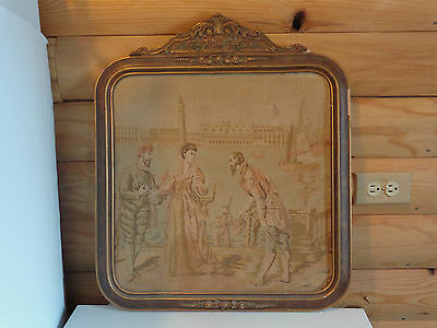 """Antique Victorian Framed Tapestry Picture.20"""" x 25"""""""