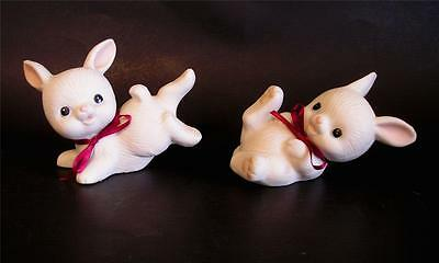 2 Vintage Homco Ceramic Bisque Bunny Figurines Romping Playing  #1454