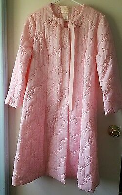 Vtg Womens Size 14 Robe Sears At Home Wear Quilted Embroidered NOS