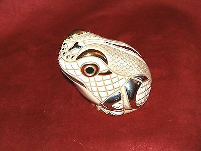 WHITE FROG with GOLD & SILVER TRIM - hand made in Uruguay - limited colour 1000