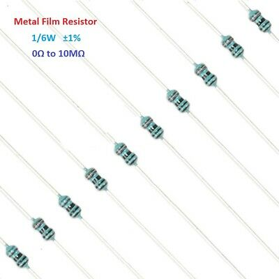 100PC 1/6W Metal Film Resistor Tolerance ±1% Full Range of Values (0Ω to 10MΩ)