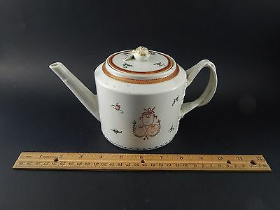 Antique 18th C Chinese Export Armorial Teapot Dated 1793 London Shop Label