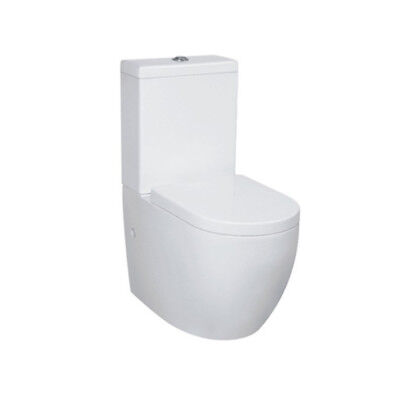 Sleek White Short Projection Back to Wall Toilet Soft Close Seat S or P Trap