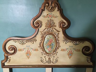 Vintage French Provincial Style Ornate Wood Double Size HEADBOARD.