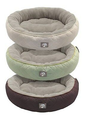 Country Style Round Pet Bed, Anti Slip Soft Fluffy Cat Dog Beds Microplush Inner