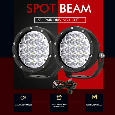 5inch OSRAM LED Driving Lights Spotlights Spot Round Offroad 4WD Black 4x4 Lamp