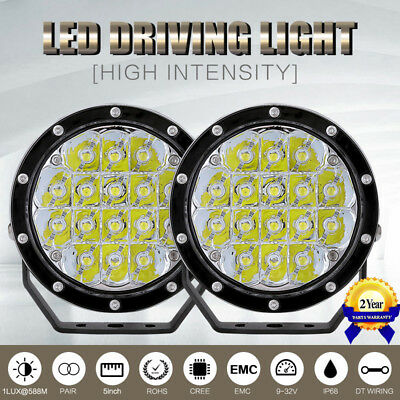 5inch 640w ROUND CREE LED Driving Work Lights Spot Offroad 4WD BLK VS 180W/320W