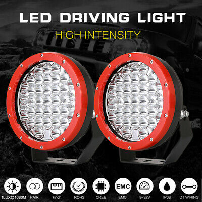 7inch 98000w CREE Round LED Driving lights Spot Work Offroad JEEP ATV 4WD Red