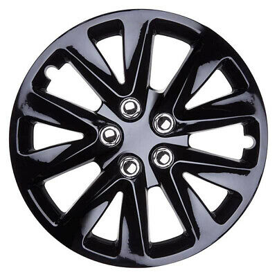 Velocity 16 Inch Wheel Trim Set Gloss Black Set of 4 Hub Caps Covers By TopTech