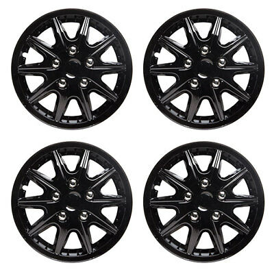 Revolution 14 Inch Wheel Trim Set Gloss Black Set of 4 Hub Cap Covers By TopTech