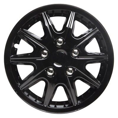Revolution 15 Inch Wheel Trim Set Gloss Black Set of 4 Hub Cap Covers By TopTech