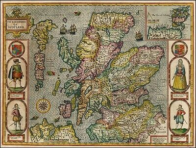 Brand New John Speed Antique Reproduction Map Of Scotland 1610